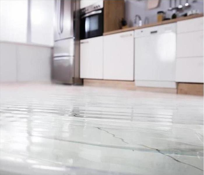 Pooled water on a kitchen floor due to a dishwasher malfunction